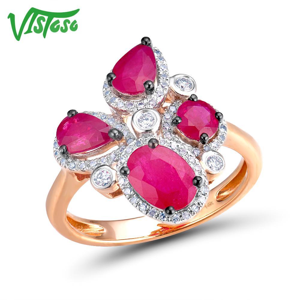 VISTOSO 14K 585 Rose Gold Ring For Women Genuine Sparkling Diamond Fancy Ruby Engagement Anniversary Unique Elegant Fine Jewelry