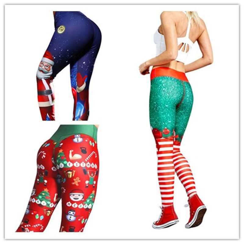 333006b75e9abd Hot Women Christmas Yoga Pants High Waist Elastic Fitness Sport Leggings  Tights Slim Running Sportswear Quick
