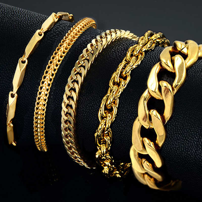 Mens Bracelet Stainless Steel Male Bracelet Wholesale Braslet Silver Color braclet Chunky Cuban Chain Link Gold Bracelet For Man