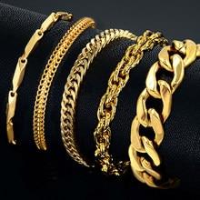 Bracelet en acier inoxydable pour hommes, bijou masculin en maille cubaine, jonc couleur argent avec larges maillons, chaînons en or, vente en gros