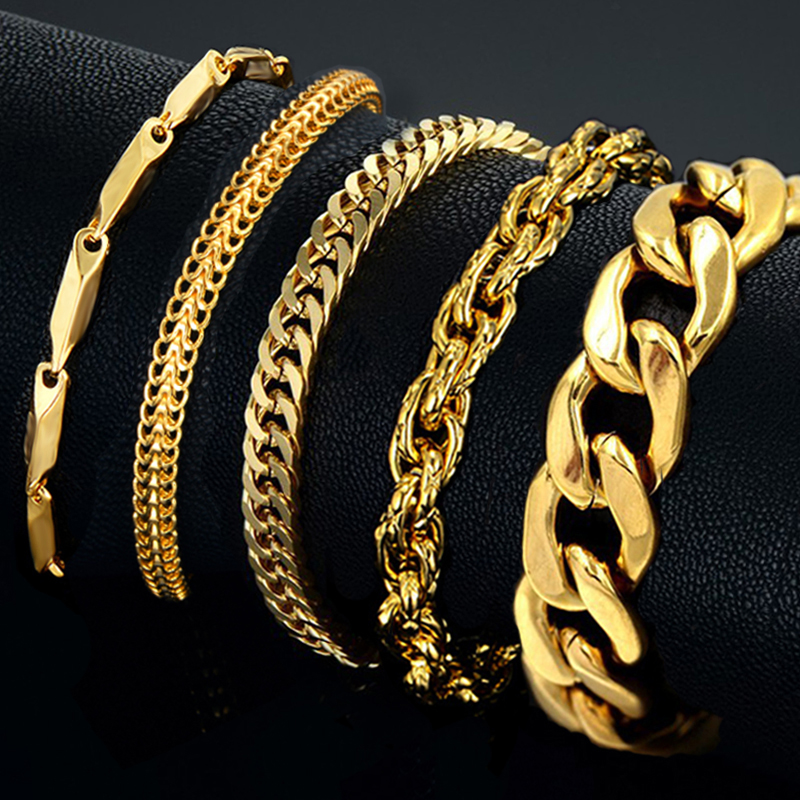 Mens Bracelet Stainless Steel Male Bracelet Wholesale Braslet Silver Color braclet Chunky Cuban Chain Link Gold Bracelet For Man(China)