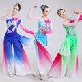 Mujer ropa de danza Clásica Del Bordado de Loto Chino folk dance traje de hadas poética del ventilador/tambor/paraguas danza disfraces