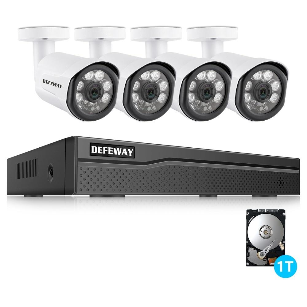 DEFEWAY 8CH POE NVR 1080 P Video Record IR Ao Ar Livre Câmera de Segurança CCTV Sistema de Vigilância de vídeo Em Casa kit 1 TB HDD 4 Câmera Nova
