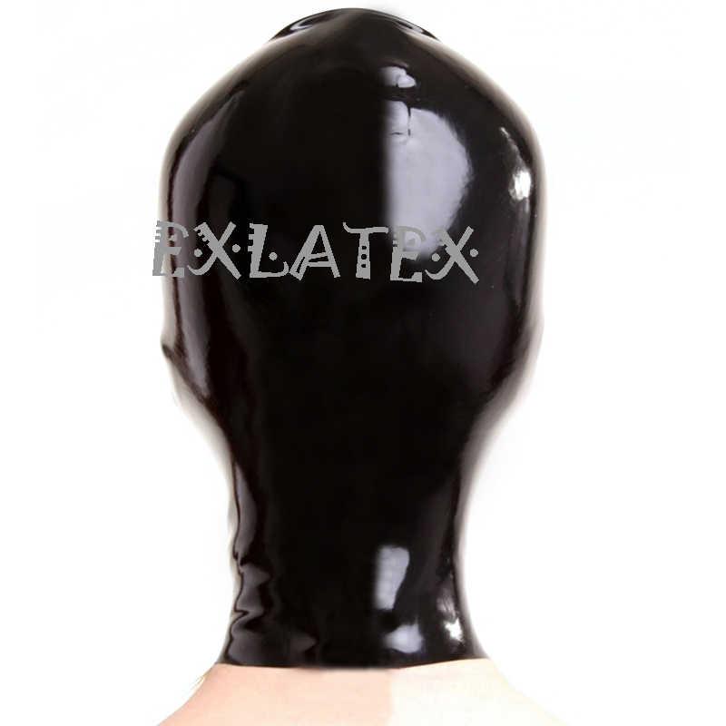 Латексная маска с капюшоном праздничные резиновые колпаки SM маска с красной отделкой формы глаза и рот нос открытый с конским хвостом без волос латексная маска