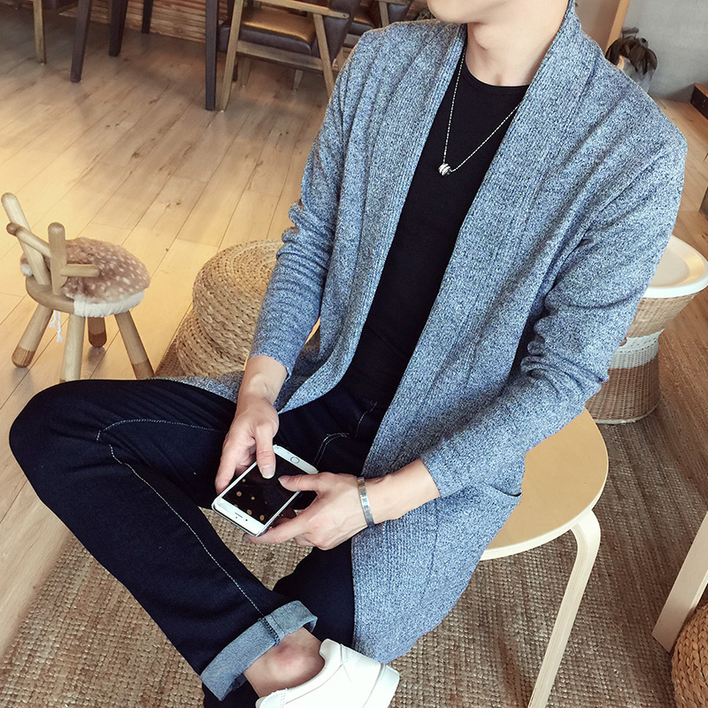 New Fashion Casual Men's Spring And Autumn Long Sweater Male Sweater Coat Knit Cardigan Jacket Tide Slim Sweater Warm Dustcoat