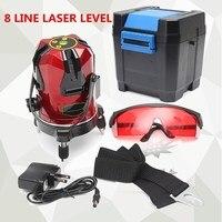 Профессиональный 8 линий 4 V + 4 H 9 точечный перекрестный лазерный уровень 360 градусов вращающийся луч выравнивания градиентные уровни измери