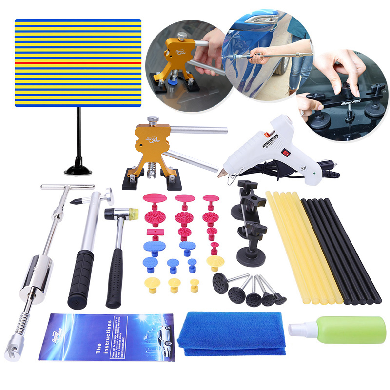 PDR Car Dent repair tools kit Paintless Dent Removal hand tools set dent puller slider hammer pulling bridge glue gun PDR tools super pdr car dent repair tools pulling bridge glue puller glue gun dent tabs hand tool set 39pcs dent removal tools kit