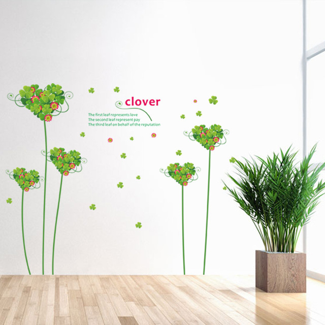 Four Leaf Clover Wall Stickers Poster For Rooms Household Adornment Wall  Decals Can Remove Mural Art