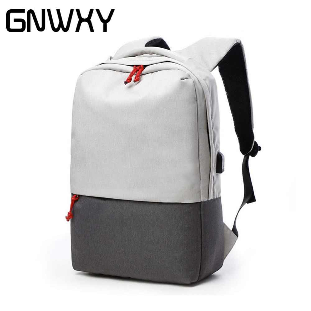 2018 GNWXY External USB Charge Design Laptop Backpack For 15.6 Inch Waterproof  Travel Computer Bag Daypack 21025fd6ab34a