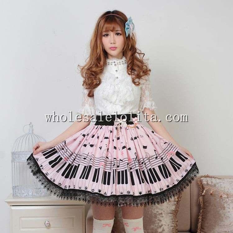 Doux rose et noir chats sur le Piano clavier imprimé SK Lolita jupe