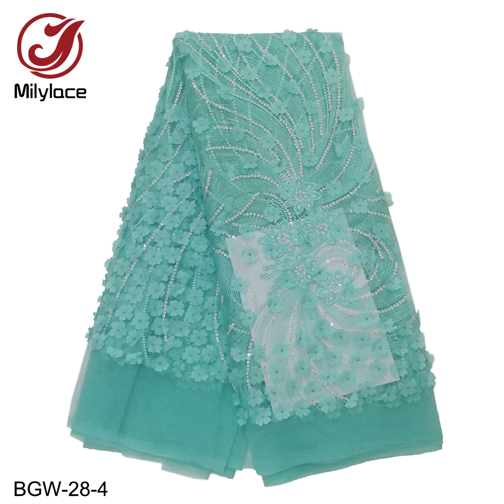 Najnowsze mody afryki koronki tkaniny z kwiatowy aplikacje francuski koronki netto tkanina z cekinami na wesele 5 metrów BGW 28 w Koronka od Dom i ogród na  Grupa 1
