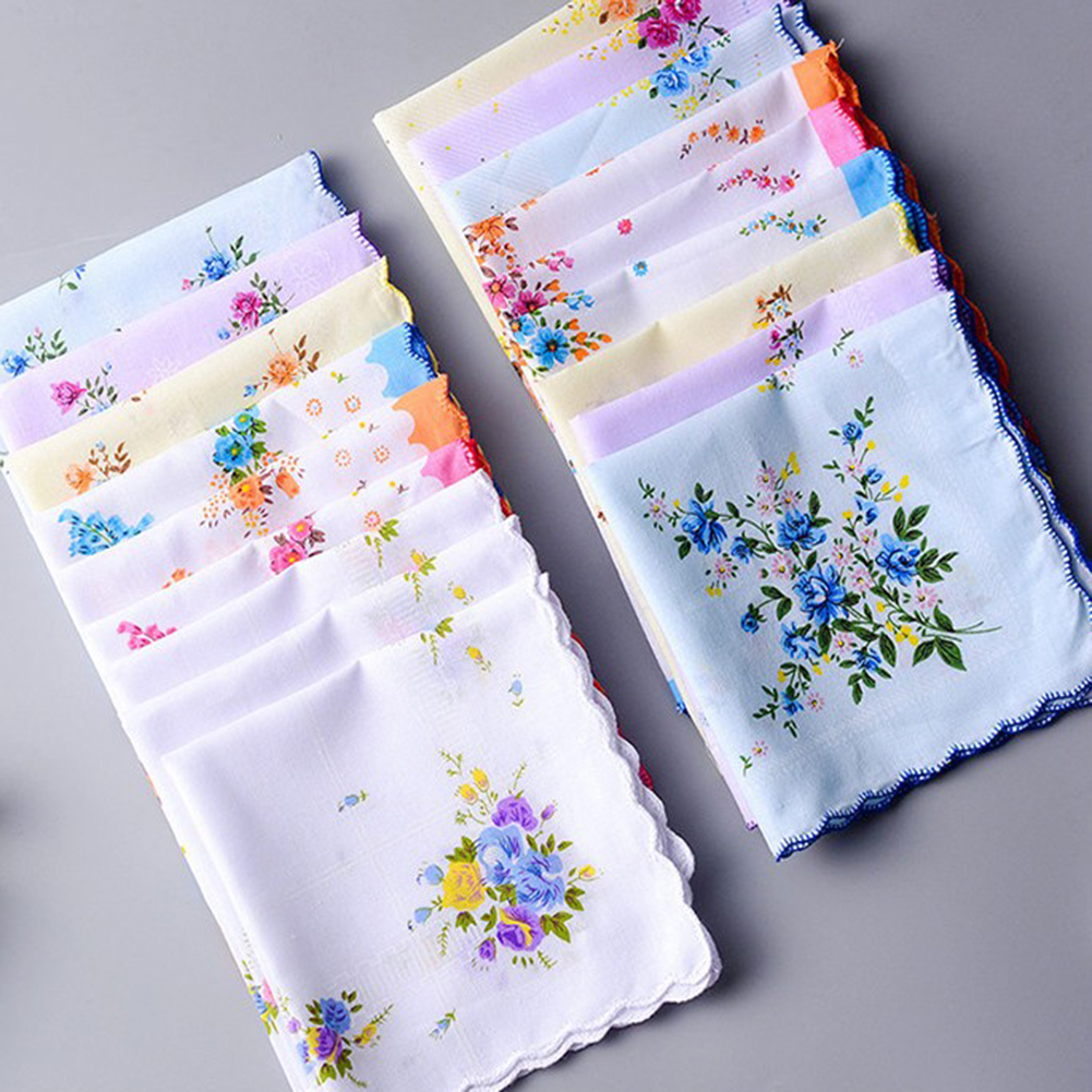 Wholesale 3-5Pcs/Lot Colorful  Handkerchief Women Cotton Floral Embroidered Scarf  Pocket Hankie Hankerchief  Random Color