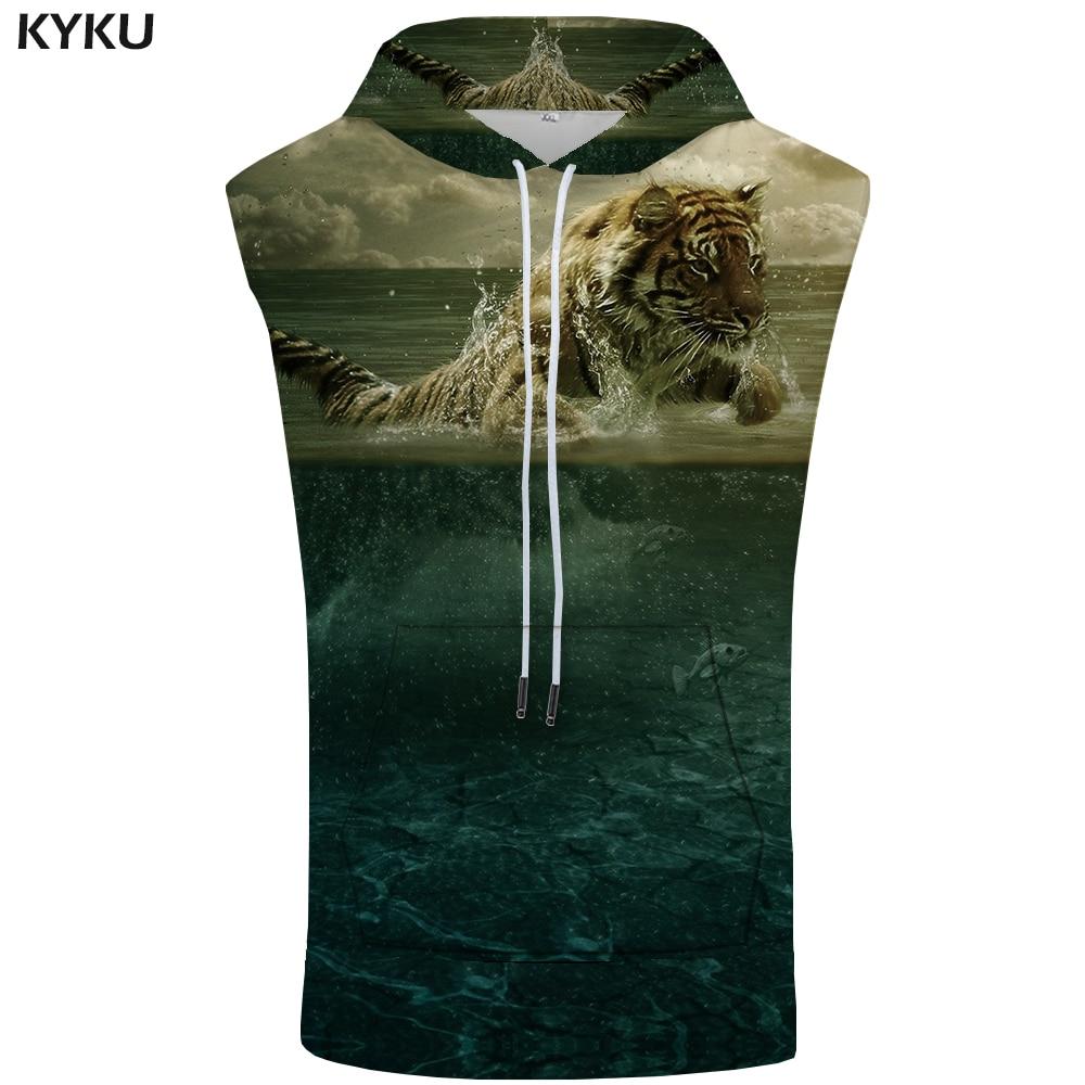 KYKU Brand Tiger Hooded   Tank     Top   Men Water Vest Cloud Bodybuilding Animal Stringer Summer Fitness Mens Clothing Casual Funny