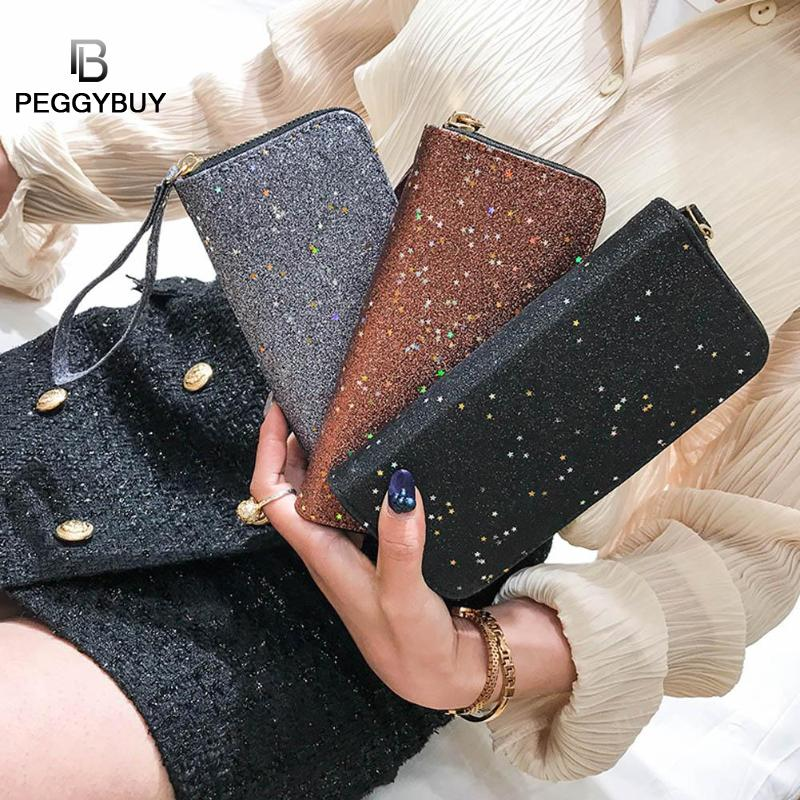 Bling Sequins Wallets Women Long Wallets Purse Clutch Bag Card Holder Zipper Glitter Party Wallet Purses Fashion Women Money Bag