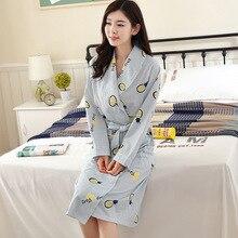 Халат хлопок Материал M-4xl бюст 80-120 см на осень кимоно халат Для женщин халат roupao de Banho