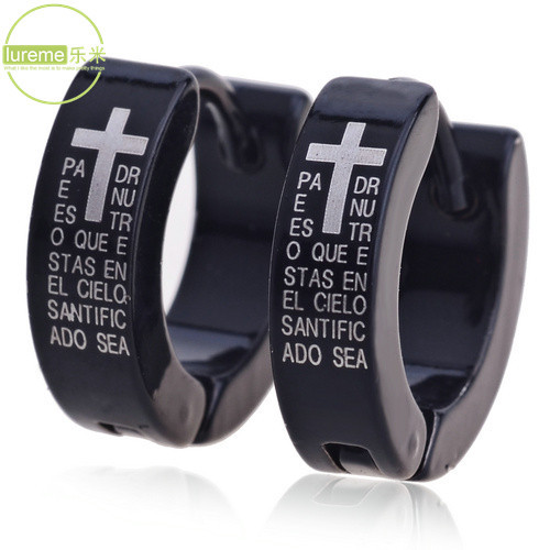 New Arrival 2015 High Quality Lureme menss Black Titanium Steel Cross and Scriptures Pattern Earrings For mens Gift Jewelry