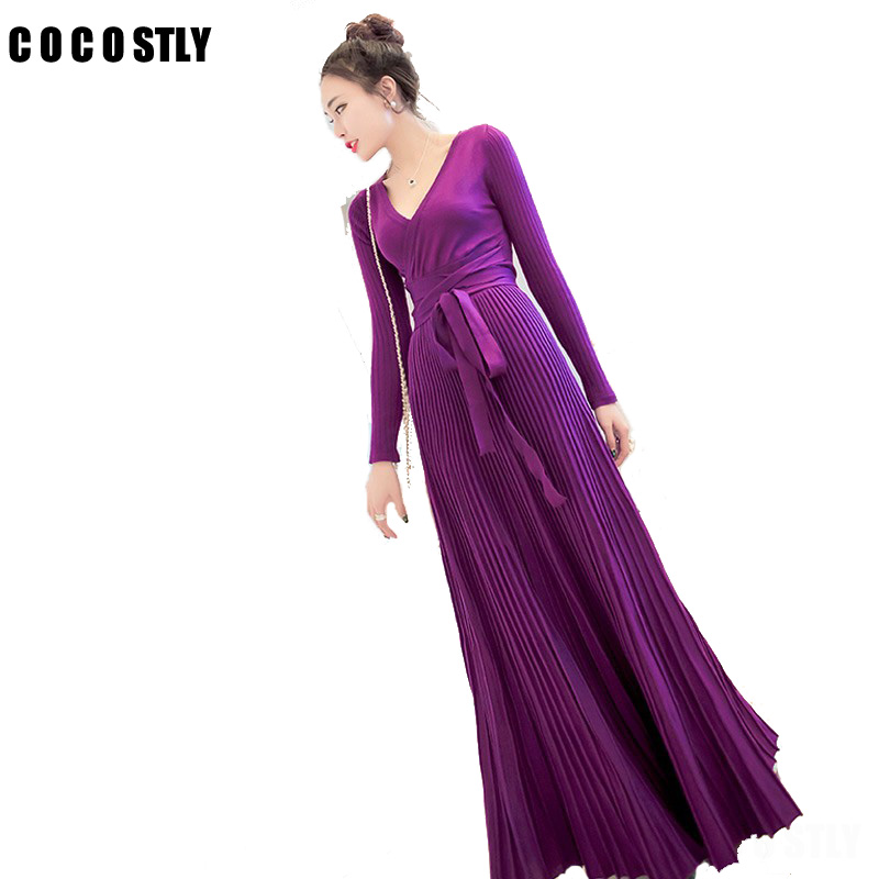 High Qaulity womens x-lonng dresses 2017 winter knitted dress sexy deep v neck tie belt long sleeve glossy pleated maxi dresses