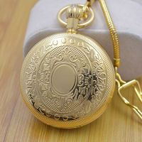 Pure Copper Cover Vintage Style Wind Up Mens Mechanical Pocket Watch Roman Number Dial 5 Hands w/Snake Chain Steampunk Watch