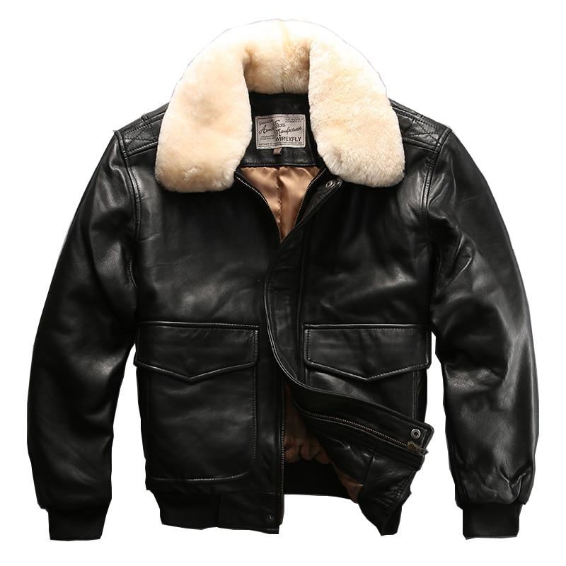 설명 읽기! 아시아 크기의 공군 비행 정장 G1 조종사 모피 칼라 두꺼운 따뜻한 가죽 자켓 정품 양 가죽 자켓