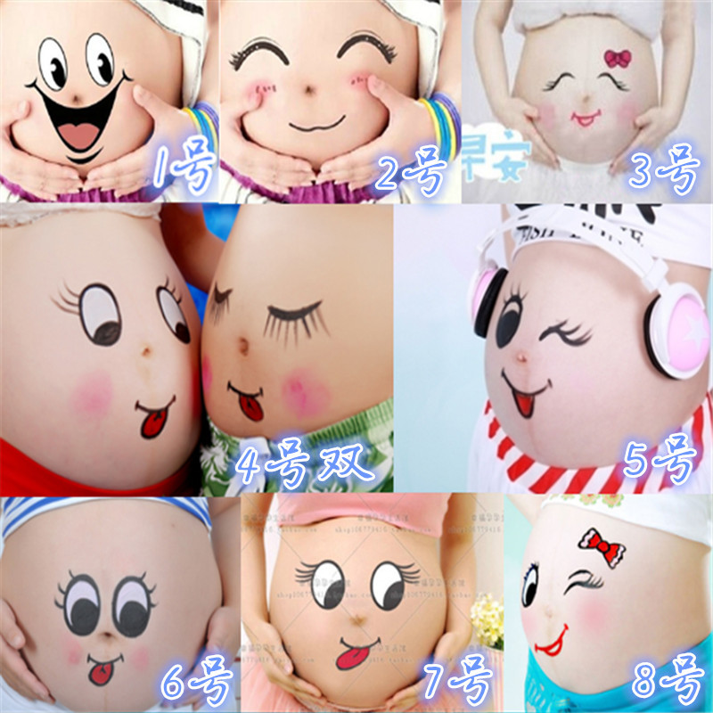 Pregnant Photography Props Face Faby Suits Maternity Belly Cute Stickers Baby Shower (leave Us Meassage Which Three You Want  )