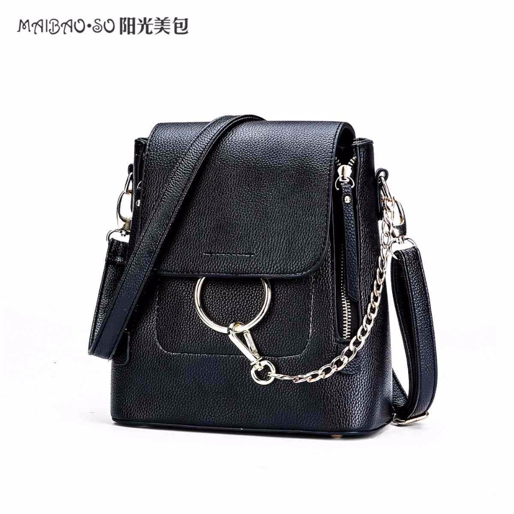 Maibao So Women Shoulder Bag Design Famous Brands pu Leather bag With Ring Chain Small Female