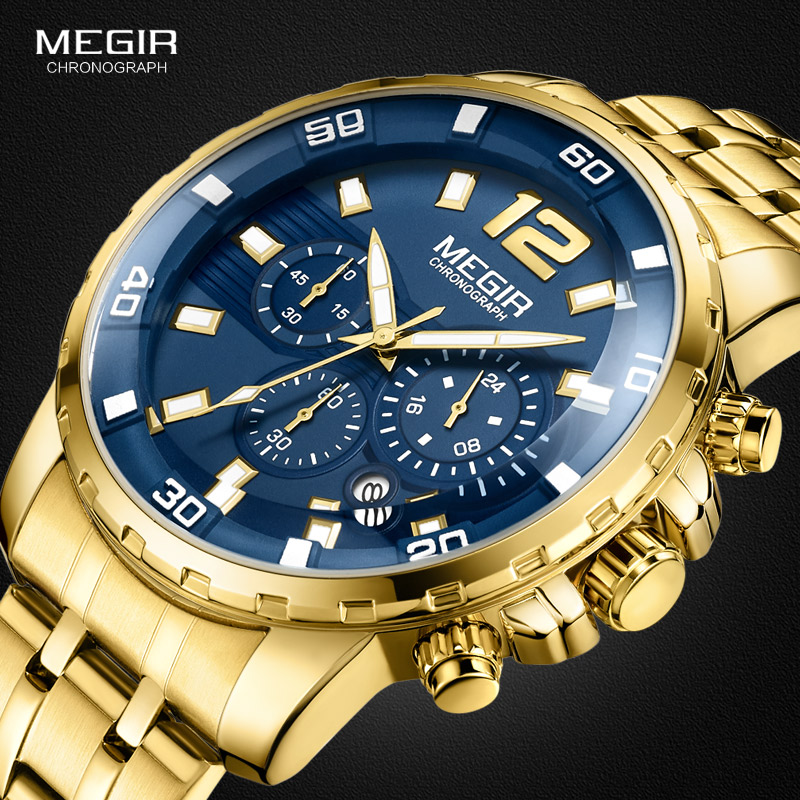 Megir Men's Gold Stainless Steel Quartz Watches Business Chronograph Analgue Wristwatch For Man Waterproof Luminous 2068GGD-2N3