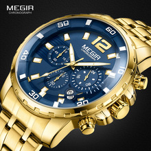 Megir Mens Gold Stainless Steel Quartz Watches Business Chronograph Analgue Wristwatch for Man Waterproof Luminous 2068GGD 2N3