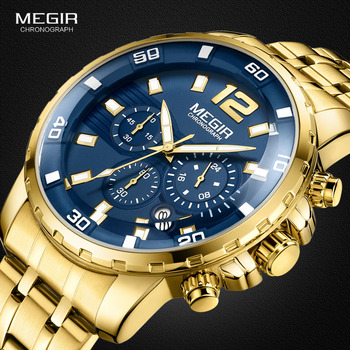 Megir Mens Gold Stainless Steel Quartz Watches Business Chronograph Analgue Wristwatch for Man Waterproof Luminous 2068GGD-2N3