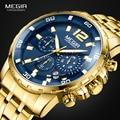 Megir männer Gold Edelstahl Quarz Uhren Business Chronograph Analgue Armbanduhr für Mann Wasserdicht Leucht 2068GGD-2N3