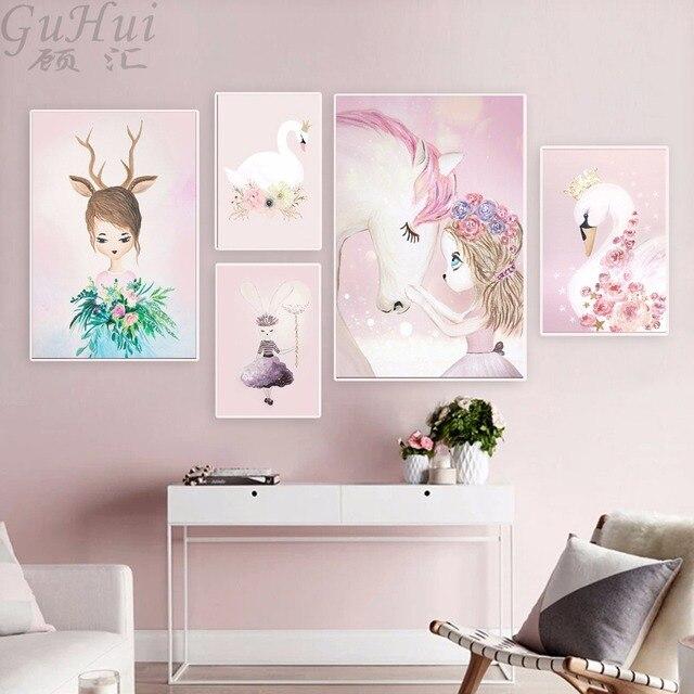 נורדי בצבעי מים קריקטורה חד קרן צבי ארנב ילדה בד ציור פרח פוסטר ברבור קיר תמונות ילדים חדר עיצוב הבית