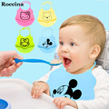 2016 new design recém-nascidos do bebê babadores alimentação do bebê saliva toalha de silicone à prova d' água por atacado dos desenhos animados aventais babadores para bebês à prova d' água