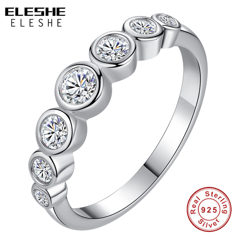 ELESHE Valentines Gift Real 925 Sterling Silver Ring Sparkling Clear CZ Crystal Finger Ring for Women Wedding Engagement Jewelry