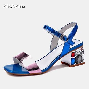 Luxury 2019 summer Mediterranean women toe strap sandals cow leather rhinestones gems shining designer dress square heels shoes