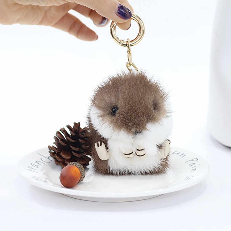 Moelleux 8 cm mignon Mini petits porte-clés réel vison fourrure pompon porte-clés bibelots voiture sac à main pendentif porte-clés anneau