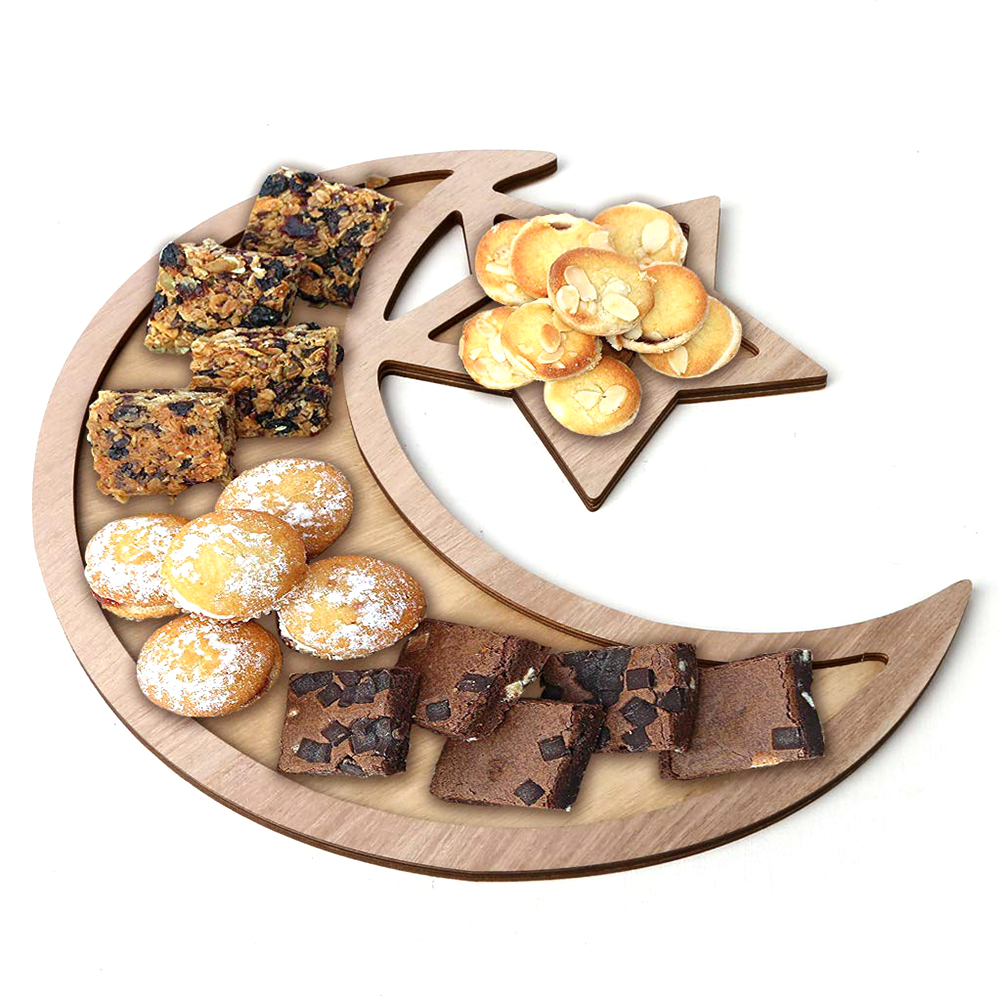 Wooden Ramadan Eid Mubarak Decoration Moon & Star Dinner Plate For Home Moon Islam Mosque Muslim Plaque DIY Party Supplies