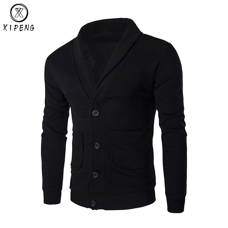 Front Button Cardigan Men Pull Homme 2018 Autumn Fashion V Neck Pocket Design Mens Knitted Sweaters Casual Slim Fit Men Sweater