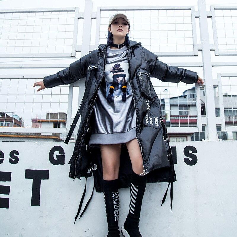 Coton femmes de longue section 2018 hiver new hip hop marée marque femmes à capuchon de banderoles froid vers le bas coton pad coton veste