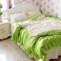 וילון חדר שינה כפרי צבע ירוק לבן חבל פשתן המיטה לפרוע תחרה אישית וילון חלון מפרץ פסטורלי 160*180 ס