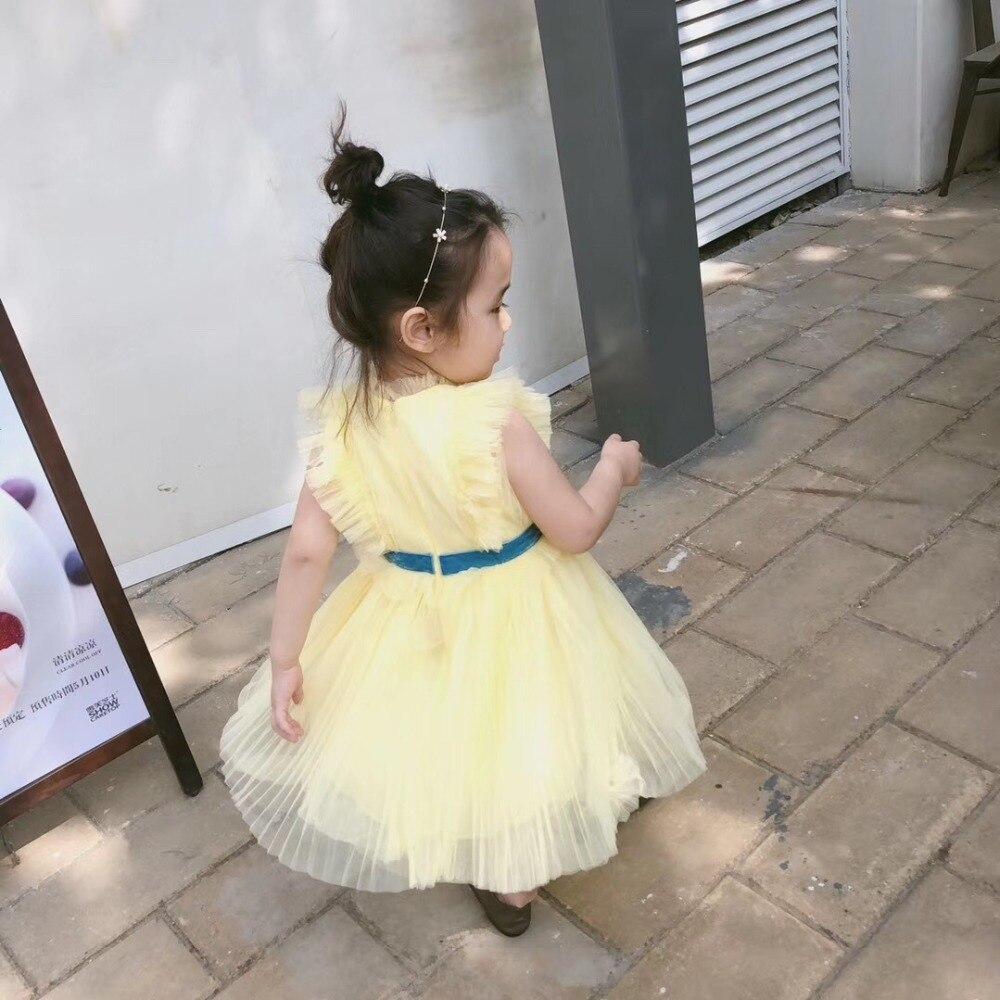 2019 été fleur broderie bébé filles vêtements jaune sans manches maille robe Boutique robe pour filles vêtements - 4