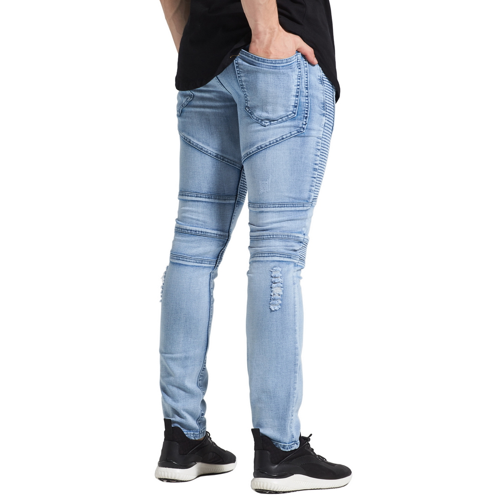 MrPick New Men Ripped Distressed Biker Jeans 2017 Urban Classic 5 - Herreklær - Bilde 4
