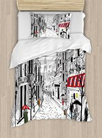 Duvet Cover Set, Old French Pedestrians Stores Trees and the Silhouette of Eifffel Urban Illustration, 4 Piece Bedding Set