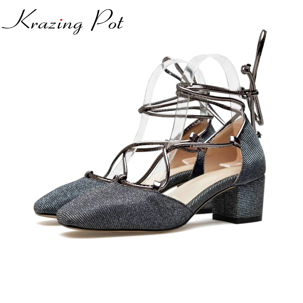 Krazing Pot new shoes women brand shallow big size 34-43 square toe ankle lace up preppy style med heels bling summer pumps L0f2 2017 shoes women med heels tassel slip on women pumps solid round toe high quality loafers preppy style lady casual shoes 17