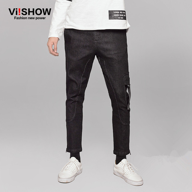 VIISHOW Brand Jeans Men Casual Black Men Jeans Pocket Trousers Slim Fit Hip Hop Trouser Straight Jeans for Men NCZ8163