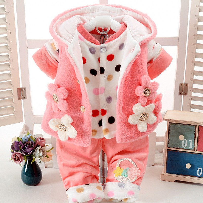New Baby Girl set Winter Autumn Floral  coat and pants three  pieces Clothes  9M-24M Baby Clothing 7BS026