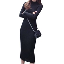 Women Autumn Turtleneck Long Sleeve Sexy Midi Dresses Slim Bodycon