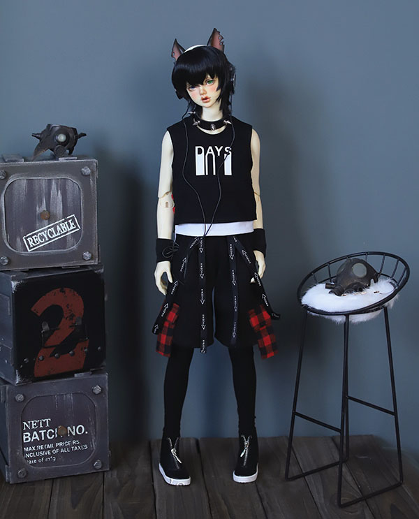 BJD Doll Clothes Suit For Dolls Fake Two-piece Printed Vest And Baggy Pants For 1/4 1/3 BJD SD Uncle SSDF Size Doll Accessories