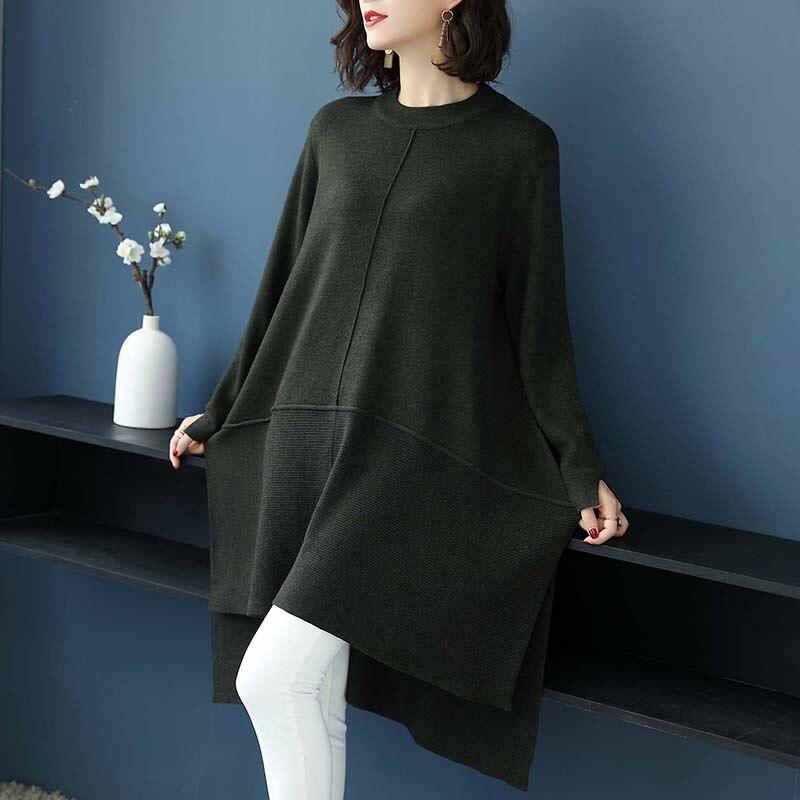 Robe Couleur Bureau cou Automne D'o Laine Femmes longueur Casual Solide Lâche Green Genou khaki Dame YTw7w1q