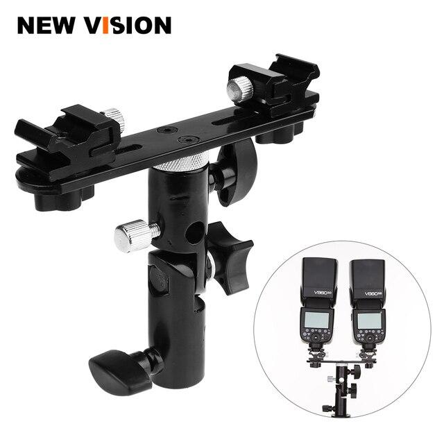 "Black Swivel Camera Double Flash Umbrella Holder Hot Shoe Stand Bracket Tripod Double Flash Bracket 1/4"" 3/8"