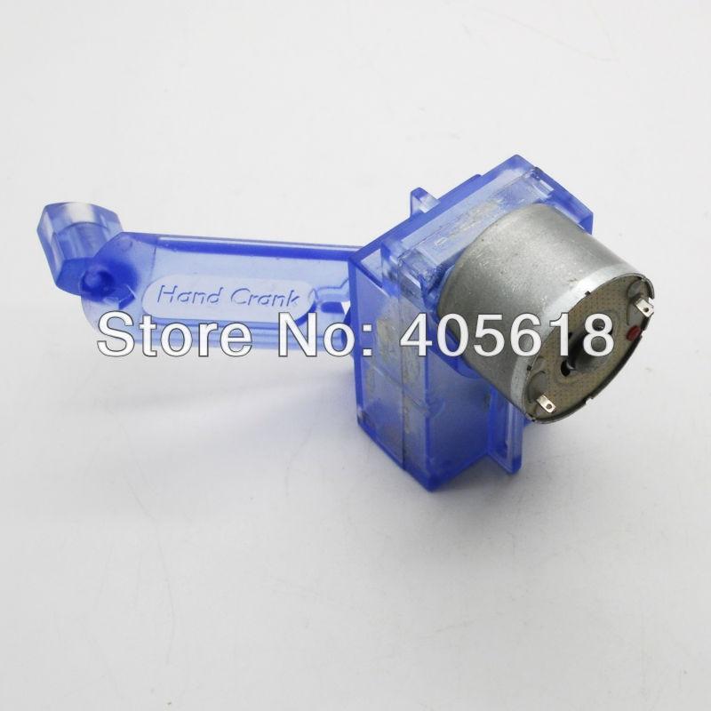 BLUE DC Hand Crank power generator motor Dynamo Green energy Assembled for fun free shipping