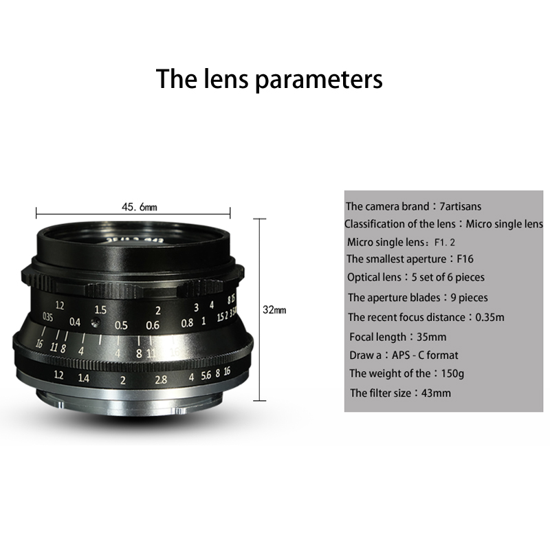 7artisans 35mm F1.2 APS-C Manual Fixed Lens For Fujifilm Fuji XF Mount X-A1 X-A10 X-A2 X-A3 X-AT X-M1 X-M2 X-T1 X-T10 X-T2 X-T20 x